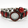 Watch_005_Red Wholesale Red Gemstone Rhinestone Fruit Bangle Style Watch