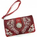Wholesale Rhinestones Western Cowgirl Concho Embroidery Red Wallet With Strap Kw10