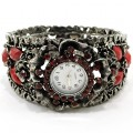 Watch_002_Red Wholesale Red Rhinestone Gemstone Bangle Style Watch