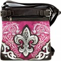 Wholesale Handbags Purple Western Rhinestone Fleur De Lis Embroidery Cross Body And Messenger Bag KW12 BK