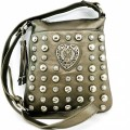 Q1335 Wholesale Pewter Leather Silver Heart & Stud Messenger Bag
