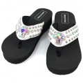 Wholesale Western Leather Strap White Flip Flop with AB Rhinestone Cross Concho KW02