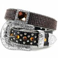 Western Brown Square Concho Rhinestone Belt