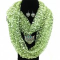 SJ018 Wholesale Green Theme Confetti Scarf Silver Red Turquoise Winged Cross Pendant and Earrings