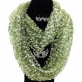 SJ022 Wholesale Green Theme Confetti Scarf Western Silver Winged Double Pistol Pendant and Earrings