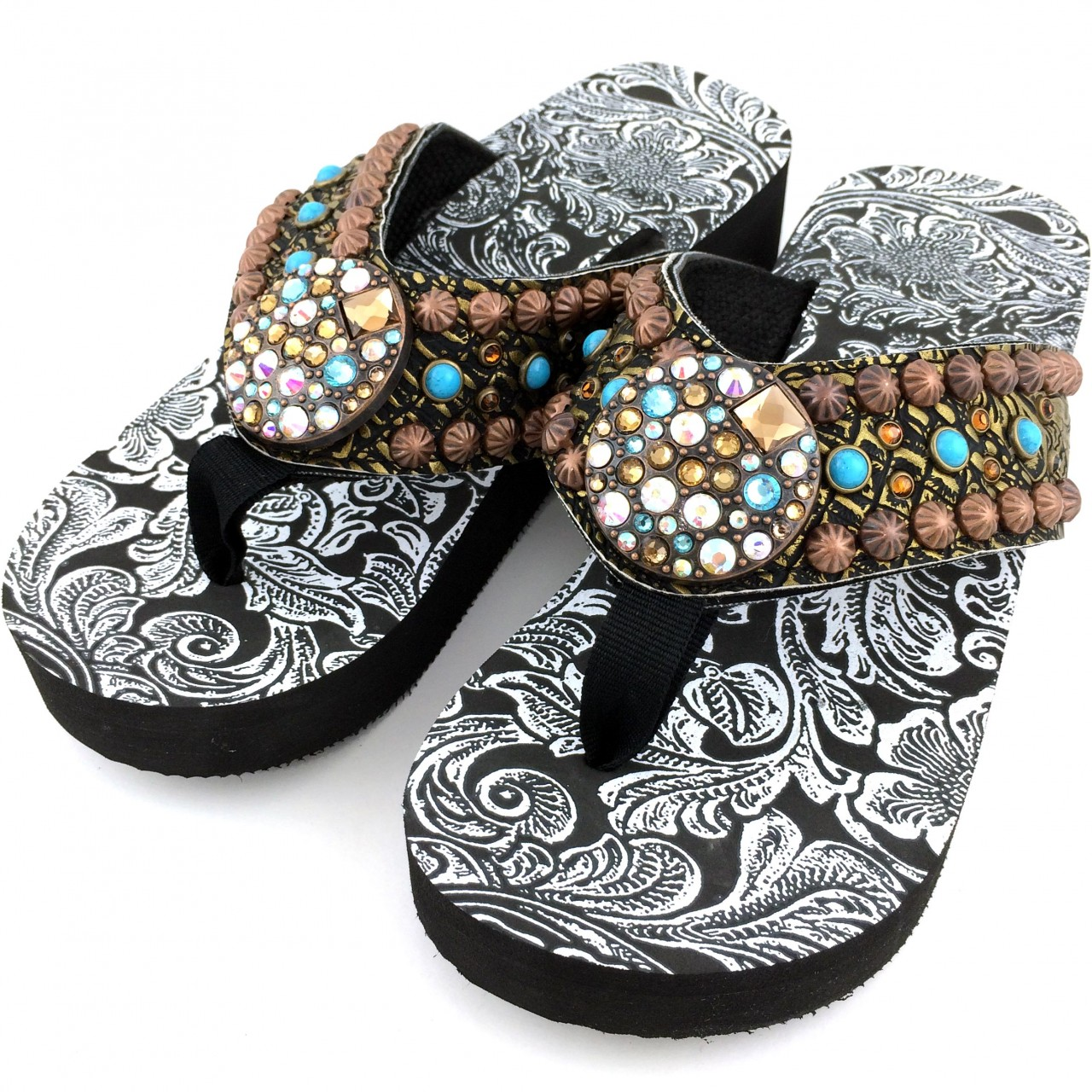 Wff0007 wholesale western leather strap bronze turquoise for Wholesale cowgirl bling jewelry