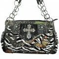 5097_BLACK Western Camouflage Zebra Rhinestone Studded Cross Handbag Purse