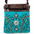 Western Turquoise Brown Trimmed Leather Rhinestone Concho Stud Messenger Handbag W/ Adjustable Strap