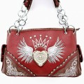 tx1303 Red Wholesale Western Style Rhinestone Angel Wing Heart Tooled Embroidery