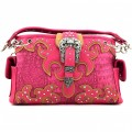 KH_025 Wholesale Trendy Western Cowgirl Purse Rhinestone Croc Skin Crown Buckle Shoulder Handbag Pink