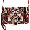KH_021 Wholesale Trendy Western Cowgirl Messenger Bag Rhinestone Multi Feature Double Pistol Leopard Print Hipster Crossbody Handbag Red