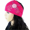 KH_1_1 Wholesale Accessories Western Winter Rhinestone Double Pistol Concho Knit HeadBand Head Warp Ear Warmer Pink