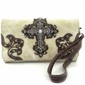 Wholesale Rhinestones Western Cowgirl Cross Embroidery Beige/Brown Wallet With Long Strap Cross Body Small Purse