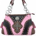 5786_PINK Wholesale Western Tooled Handbag Vintage Cross Western Concho Rhinestone Studded