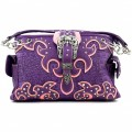 KH_025 Wholesale Trendy Western Cowgirl Purse Rhinestone Croc Skin Crown Buckle Shoulder Handbag Purple