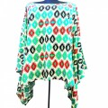 KB0007 Wholesale Apparel Kimono Blouse Black Red with Greene Aztec  Design  Shirt