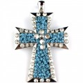 Wholesale Turquoise Seed Bead Rhinestone Alloy Metal Pendant with Magnetic Closure