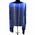 KB00011 Wholesale Apparel Kimono Blouse  with  Blue Indian  Design  Shirt