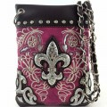Wholesale Handbags Purple Western Rhinestone Fleur De Lis Embroidery Cross Body Messenger bag KW13F