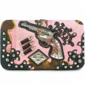 KWT_002 Wholesale Black/Pink camo Wallet with Western Floral Design and Rhinestone Guns