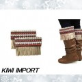 BTC_005 Winter Boot Topper Fringe Rhinestone Beads Colorful Knit Tan