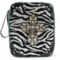 A5763_BLACK Zebra Wholesale Vintage Silver Color Cross with Studded Rhinestones Bible Covers
