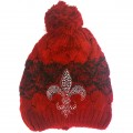 WH 008 Wholesale Winter Snow Beanie With Rhinestone Fleur De Lis Red Edition