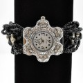 Watch_007 Black Wholesale Intricate Layered Beaded Watch