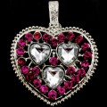 PEN_026 Wholesale Hot Pink Clear Heart Gemstone Rhinestone Silver Color Magnetic Pendant