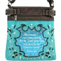 Wholesale Western Turquoise Cross Body Messenger Bag Rhinestone Cross Bible Verse Joshua 1:9 Handbag