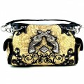 KH_013_1 Wholesale Purse Western Cowgirl Purse Double Pistol Concealed Carry Tooled Shoulder Handbag Black