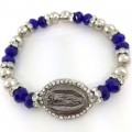 BRC_1004 Virgin Mary Rosary rhinestone beads silver Beads Royal Blue Crystal Handmade Bracelet