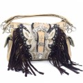KH_022 Wholesale Trendy Western Cowgirl Purse Rhinestone Crown Buckle Fringe Conceal Carry Shoulder Handbag Beige