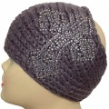 KHW_001 AB Clear Rhinestone Knitted Gray Head wrap Earwarmer Head Band