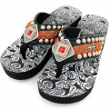 WFF0004 Wholesale Western Leather Strap Black Flip Flop with Blue and Orange Gemstone Rhinestone Concho and Embroidery