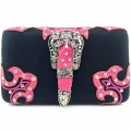HR_151B wholesale western Buckle Design Black/Pink Carved Leather New Flat Woman Wallet