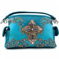 KH_024 Wholesale Trendy Western Cowgirl Purse Rhinestone Croc Skin Cross Shoulder Handbag Turquoise