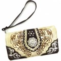 Wholesale Rhinestones Western Cowgirl Concho Embroidery Beige Wallet With Strap Kw10