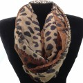 IS003 Wholesale Brown Leopard Design Voile Infinity Scarf