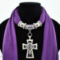 SJ025 Amethyst Purple Scarf With Bead Filled Cross Shaped Pendant