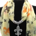 SJ020 Beige Wholesale Multicolor Assorted Size Colors Fleur De Lis Jewelry Scarf with Rhinestone Fleur De Lis Pendant