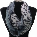 IS003 Wholesale Blueish Grey Leopard Design Voile Infinity Scarf