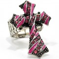 RNG_014_Pink Wholesale Pink Rhinestone Cross Stretch Ring