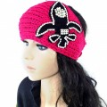 KH_3 Wholesale Western Winter Rhinestone 3D Fleur De Lis Saints Knit HeadBand Head Warp Ear Warmer Pink