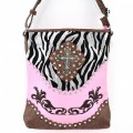 5783 LPINK Wholesale Western Handbags Shiny Zebra Cross Rhinestone Flower Embroidery Rhinestone