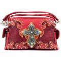 KH_024 Wholesale Trendy Western Cowgirl Purse Rhinestone Croc Skin Cross Shoulder Handbag Red