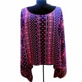 KB0008 Wholesale Apparel Kimono Blouse with Neon Pink Indian  Design  Shirt