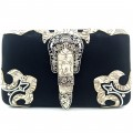 HR_151B wholesale western Buckle Design Black/Beige Carved Leather New Flat Woman Wallet