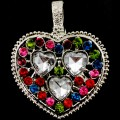 PEN_026 Wholesale Multicolor Clear Heart Gemstone Rhinestone Silver Color Magnetic Pendant
