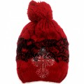WH 009 Wholesale Winter Snow Beanie With Rhinestone Cross Red Edition